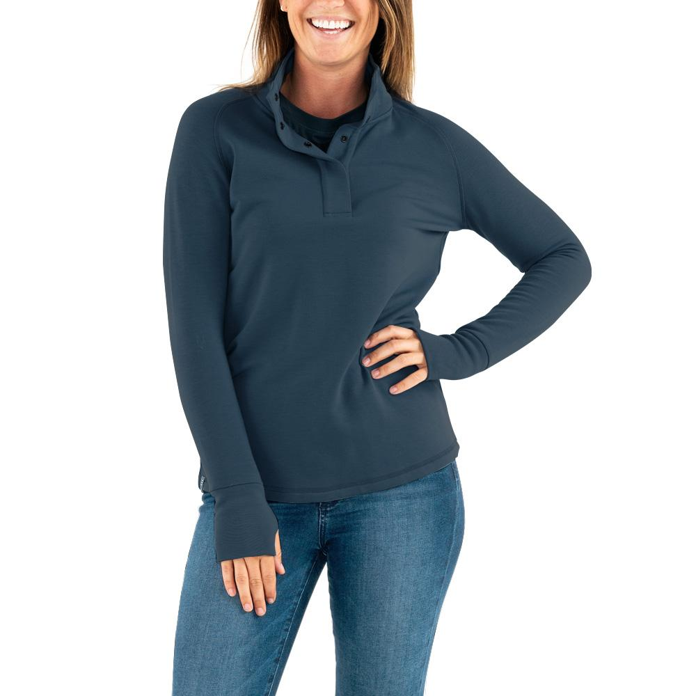 Women's Bamboo Thermal Fleece Pullover  - Blue Dusk - The Lake and Company