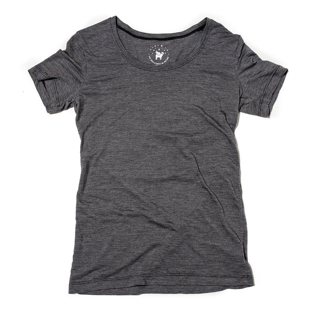 Women's Castaway Tee- Caviar Stripe - The Lake and Company