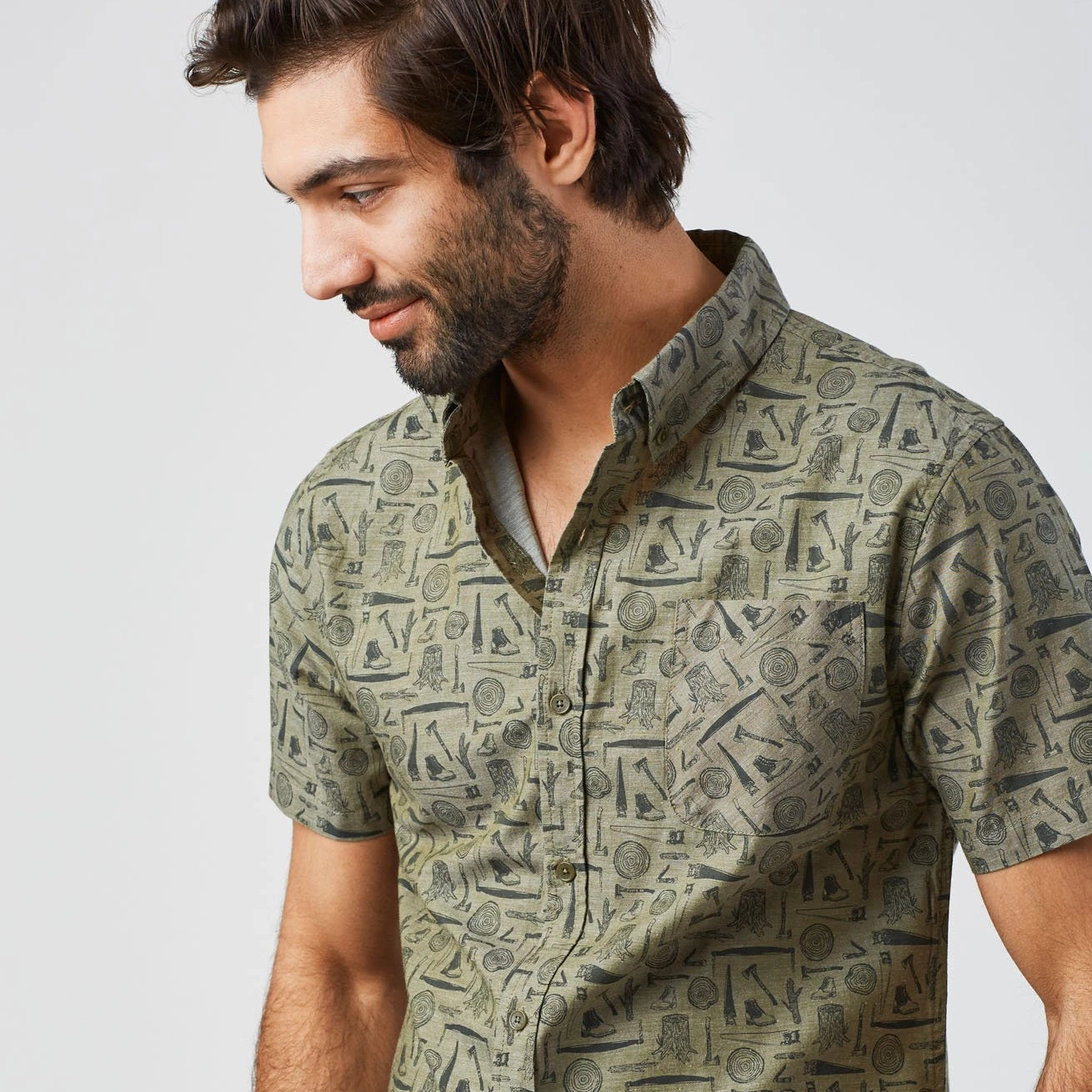 Kinghorn Button Down - Olive - The Lake and Company