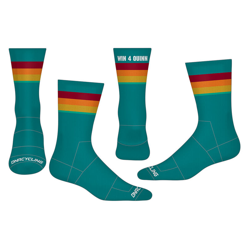 "Win4quinn 6"" Performance Socks - TEAL"
