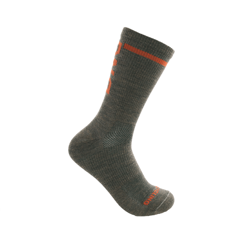 "6"" Merino Wool Performance Sock Green/Orange"