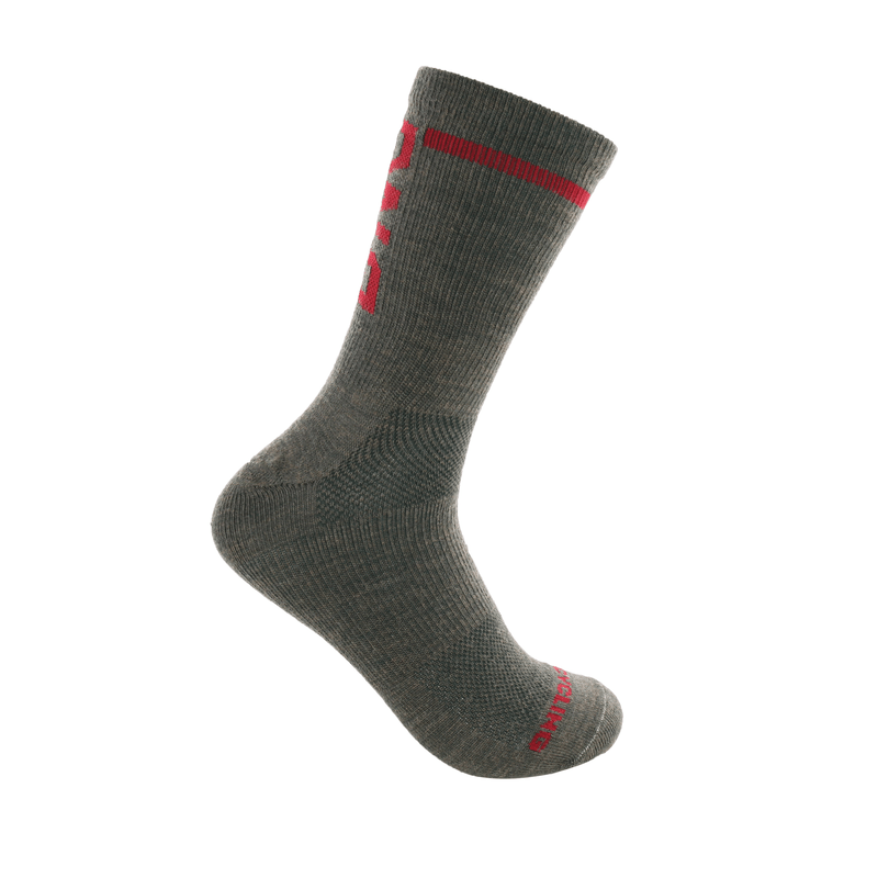 "6"" MERINO WOOL PERFORMANCE SOCK GREEN/RED"