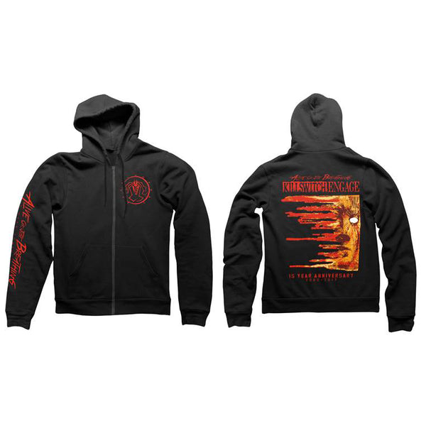 ALIVE OR JUST BREATHING ALBUM COVER BLACK ZIP HOODY