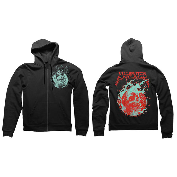 Skull Flame Zip Hoody Black