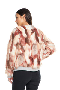 Calico Faux Fur Bomber