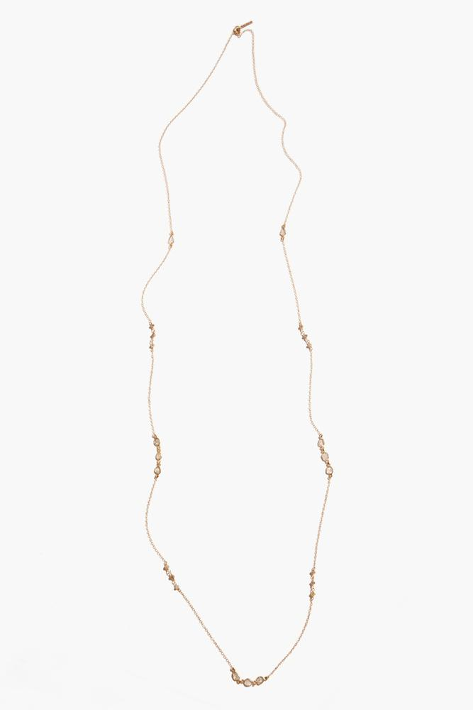 Champagne Diamond Gold Long Necklace
