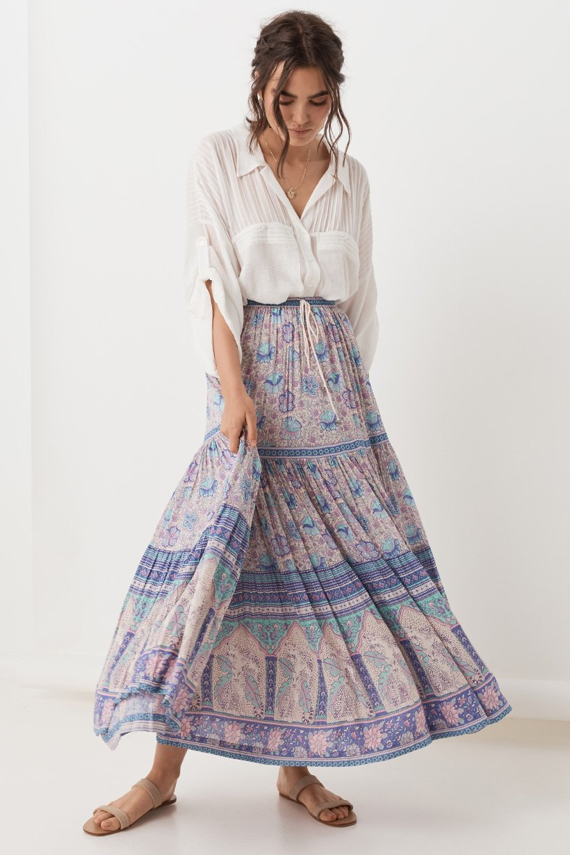 Lilac Poinciana Maxi Skirt