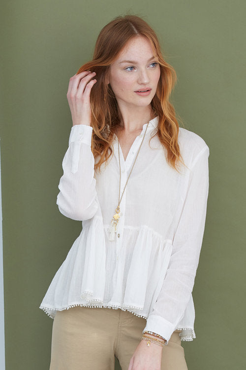 Cotton Button Up Blouse