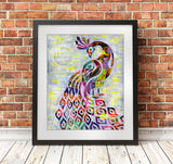 Peacock wall art print by Artpoptart
