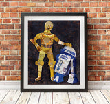 R2D2 and c3po Wall Art