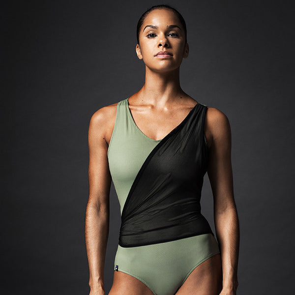 Olive Wrap Front Leotard