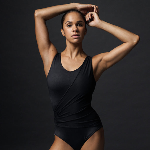 Black Wrap Front Leotard