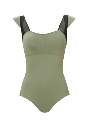 Olive/Black Cap Sleeve Leotard