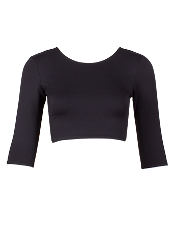 Black 3/4 Sleeve Crop Top