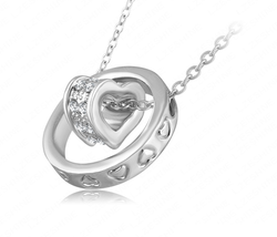 Double Circle Heart Necklace and Pendant