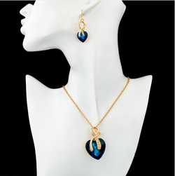 Gold Plated Jewelry Sets For Women Crystal Heart Necklace and Earrings