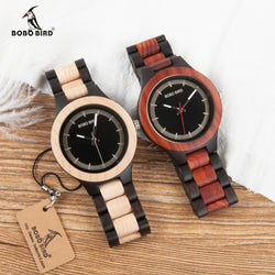 Two-tone Ebony RedWood Pine Wooden Watches for Men