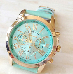 Women's Geneva Faux Leather Analog Wrist Watches