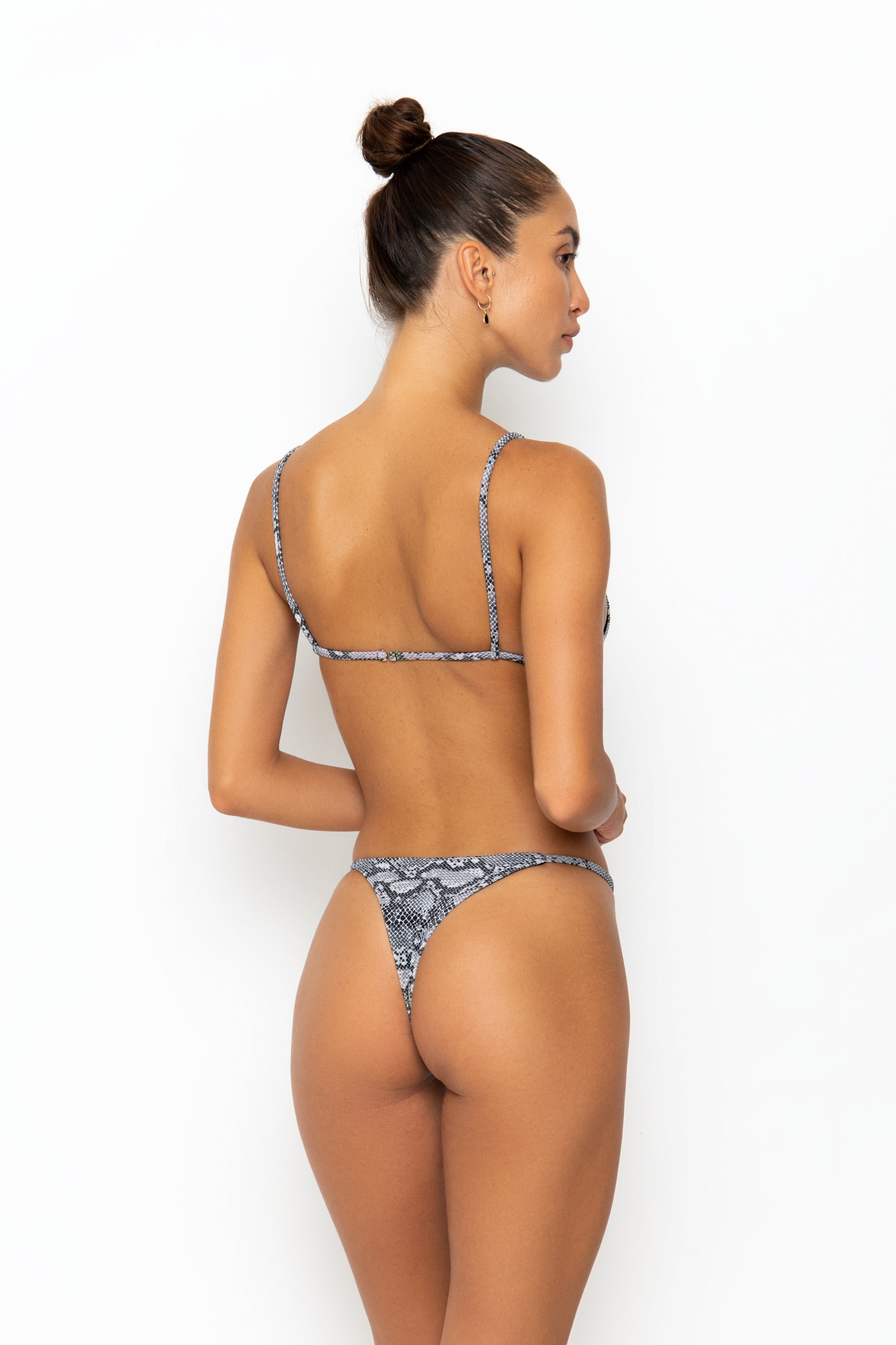 ALANI BOTTOM - BLACK/WHITE SNAKE RIB
