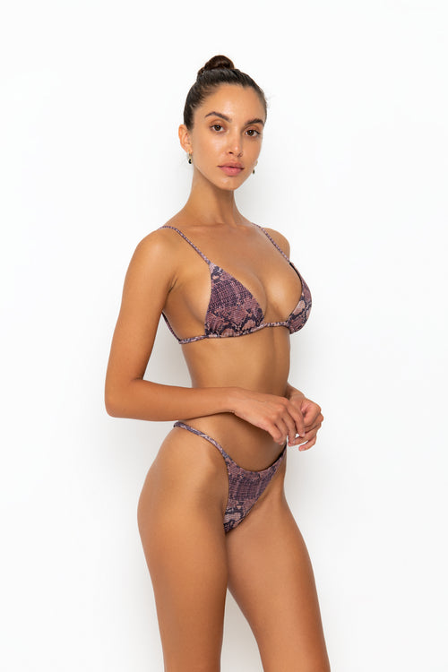 ALANI TOP - BROWN SNAKE RIB