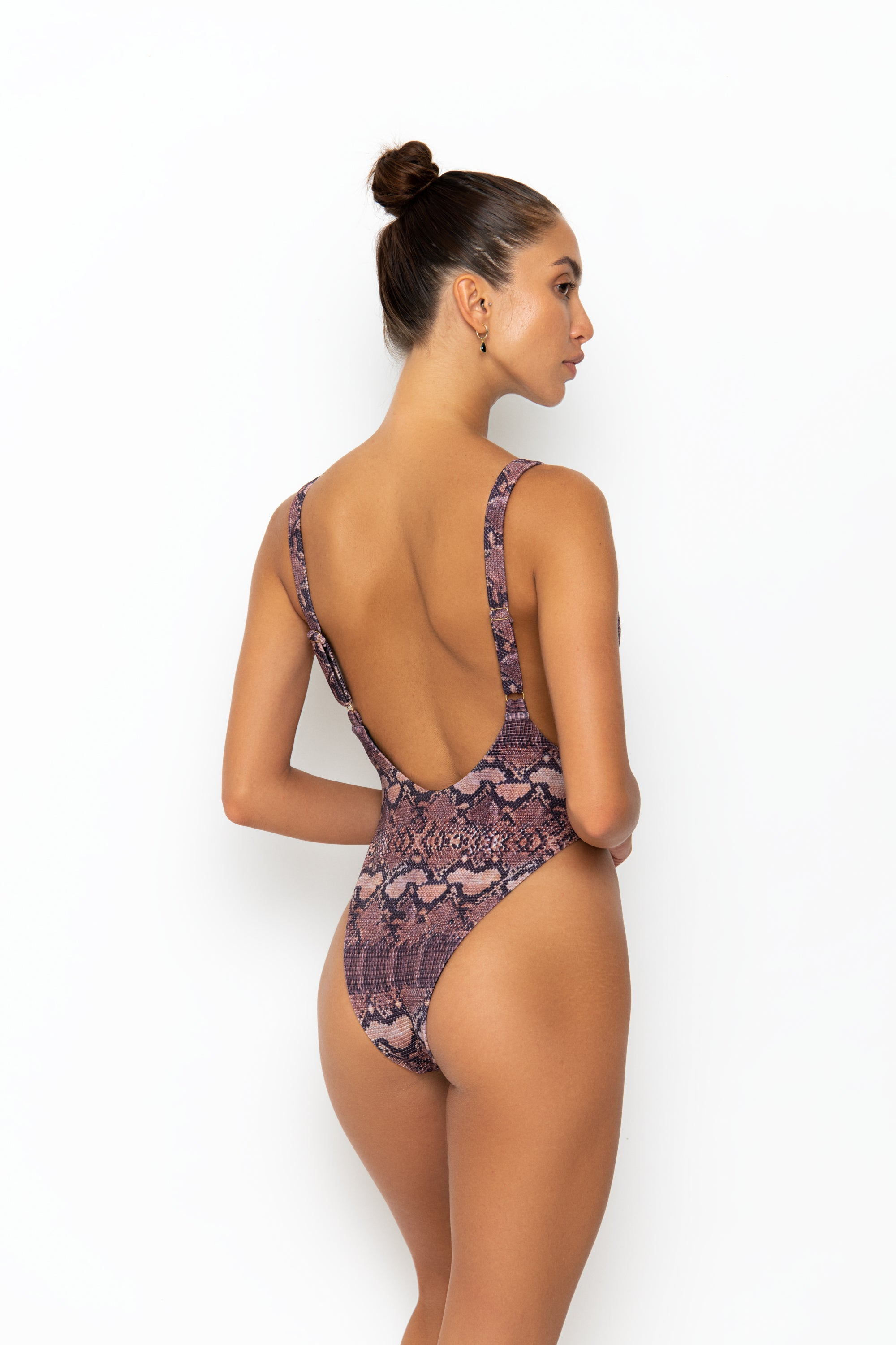 AFIA SWIMSUIT - BROWN SNAKE RIB
