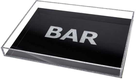 Bar tray - black with sliver glitter