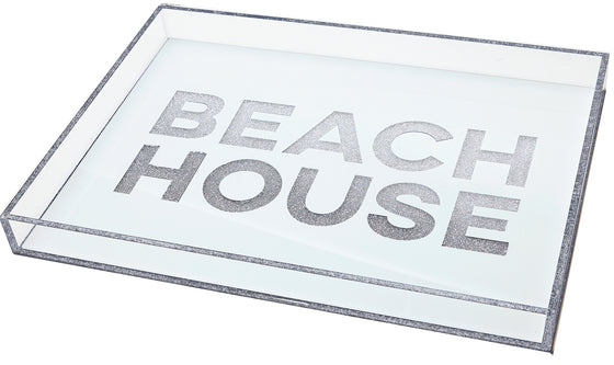 Beach house tray - white with silver glitter