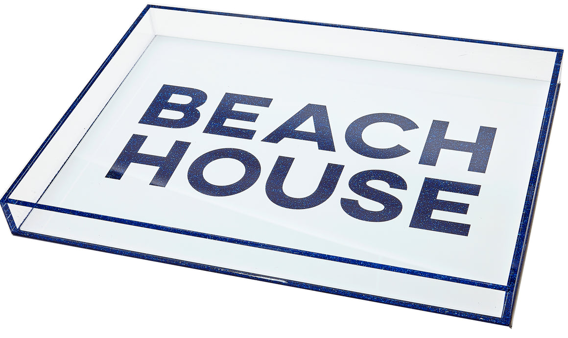 Beach house tray - white with blue glitter