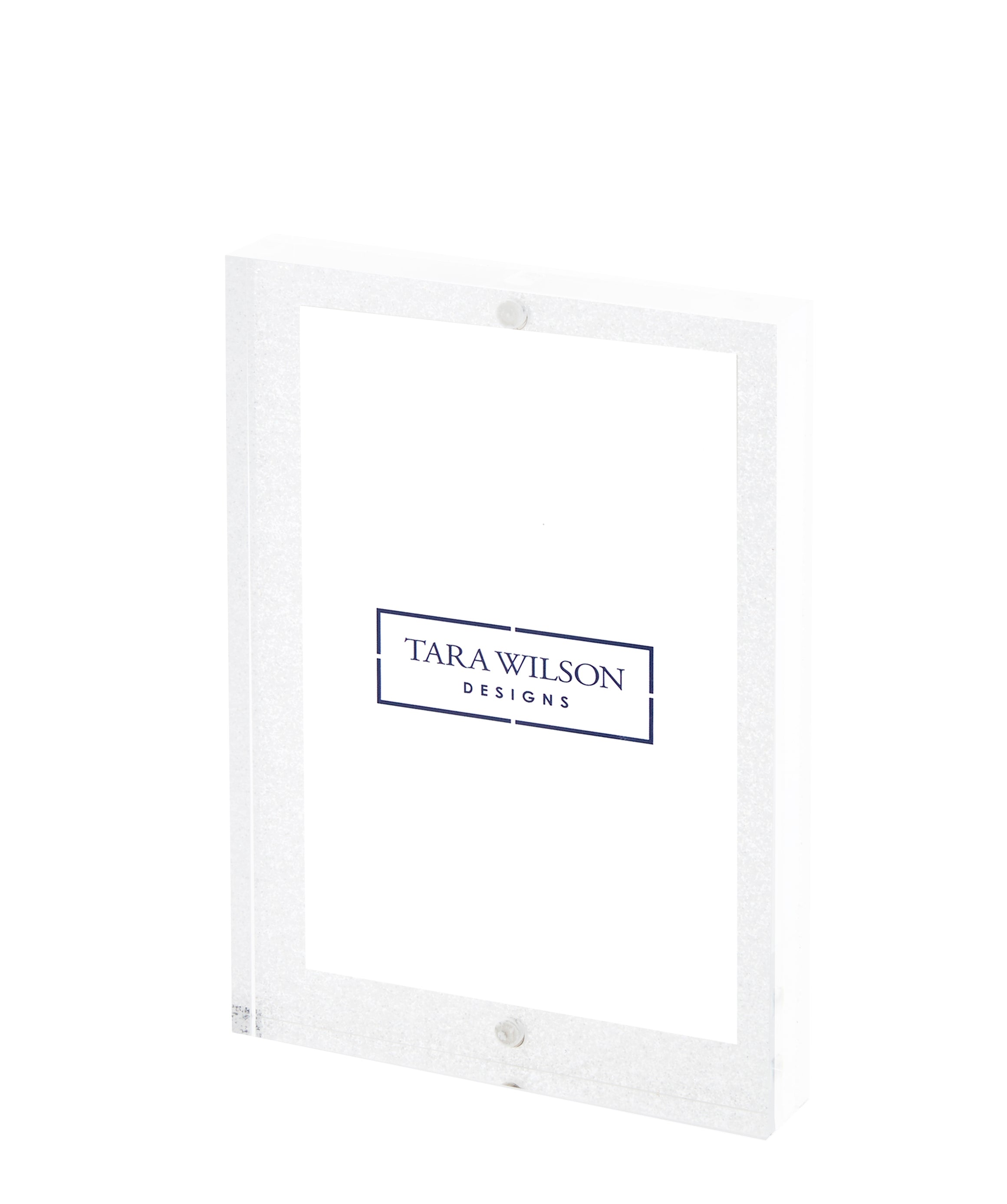 White Glitter 4 x 6 thick block frame actual size 5 x 7