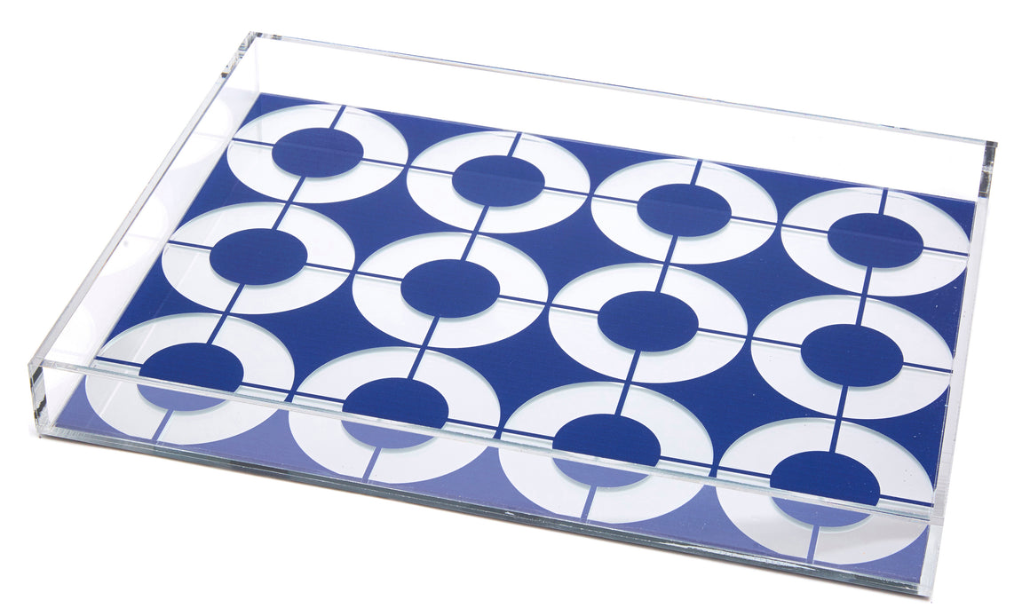 Blue circle with silver mirror tray