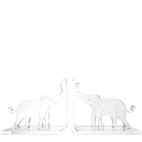 Clear Elephant bookends