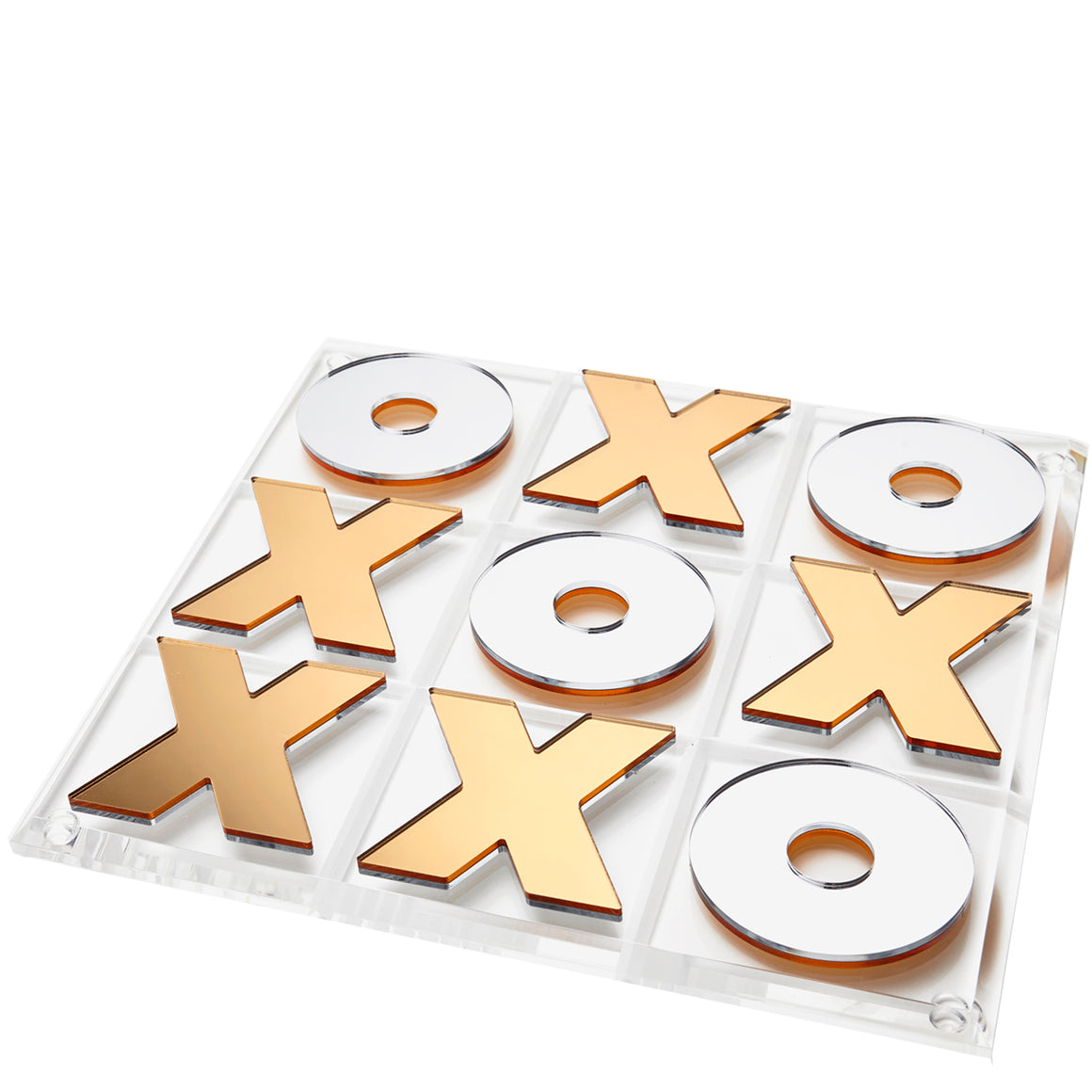 Gold / silver mirror reversible tic tac toe