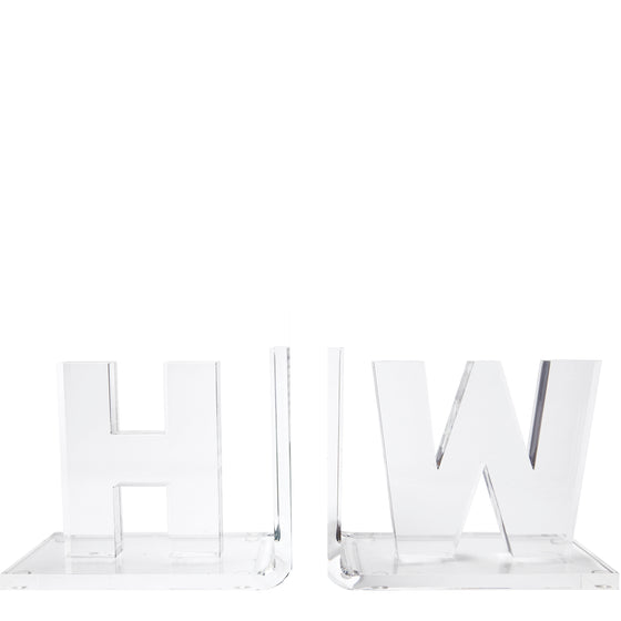 Personalized clear thick initial bookends