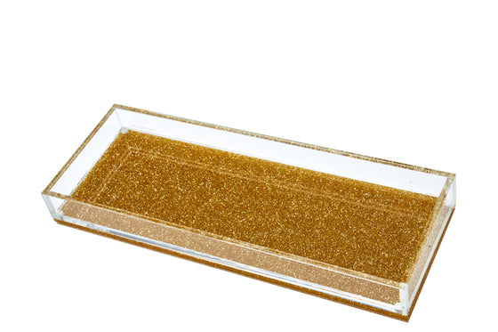 Long Vanity Tray - Gold Glitter