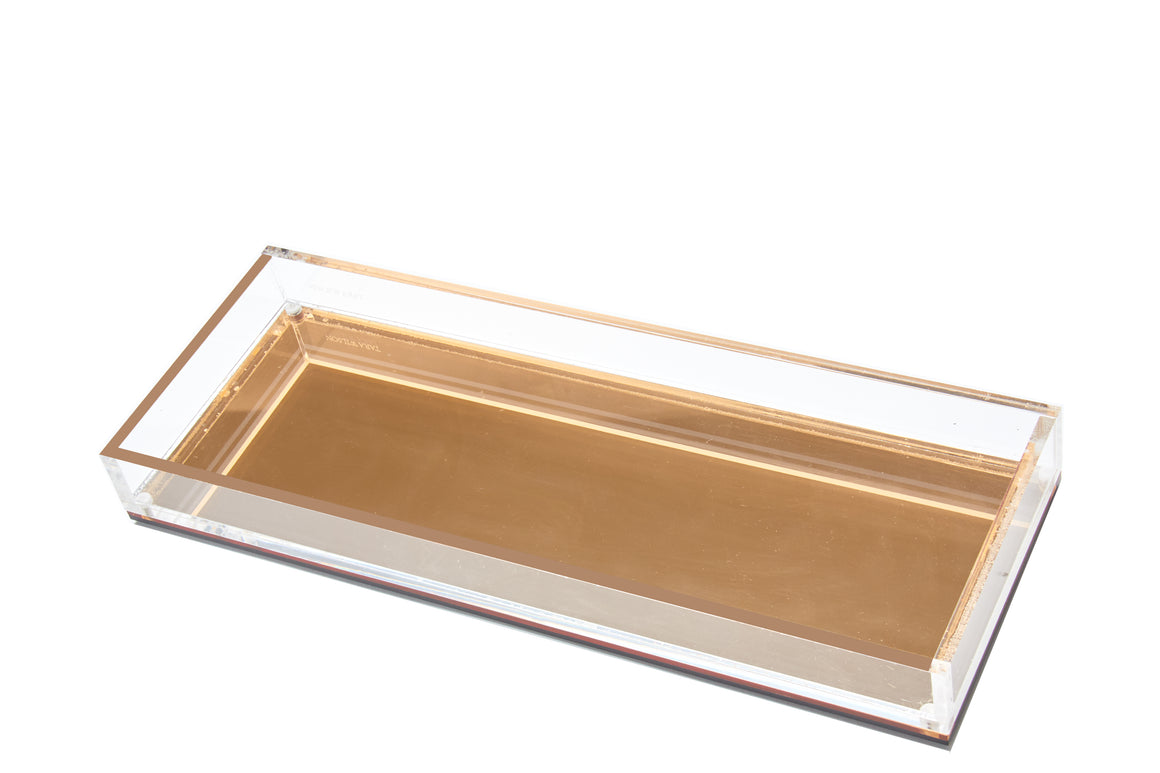 Long Vanity Tray - Gold Mirror