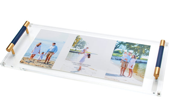Long Centerpiece Photo Tray with Navy Leather Handle
