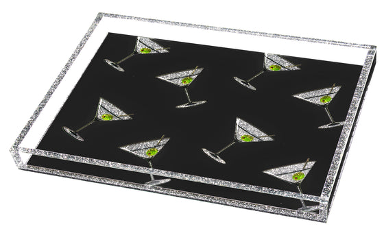 Martini Pattern Tray - black background