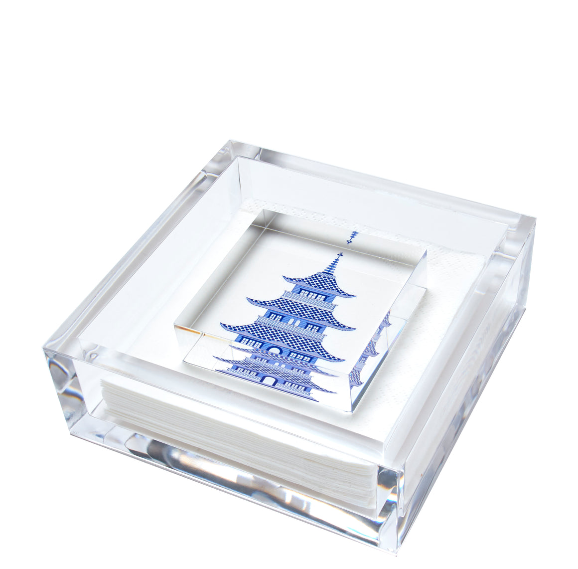 Cocktail napkin holder - blue pagoda