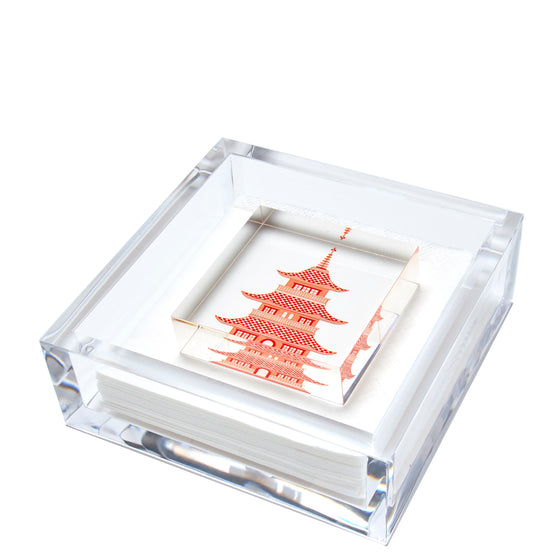 Cocktail napkin holder - orange pagoda