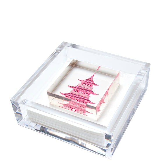 Cocktail napkin holder - pink pagoda