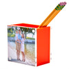 Photo pen holder - orange (double-sided)