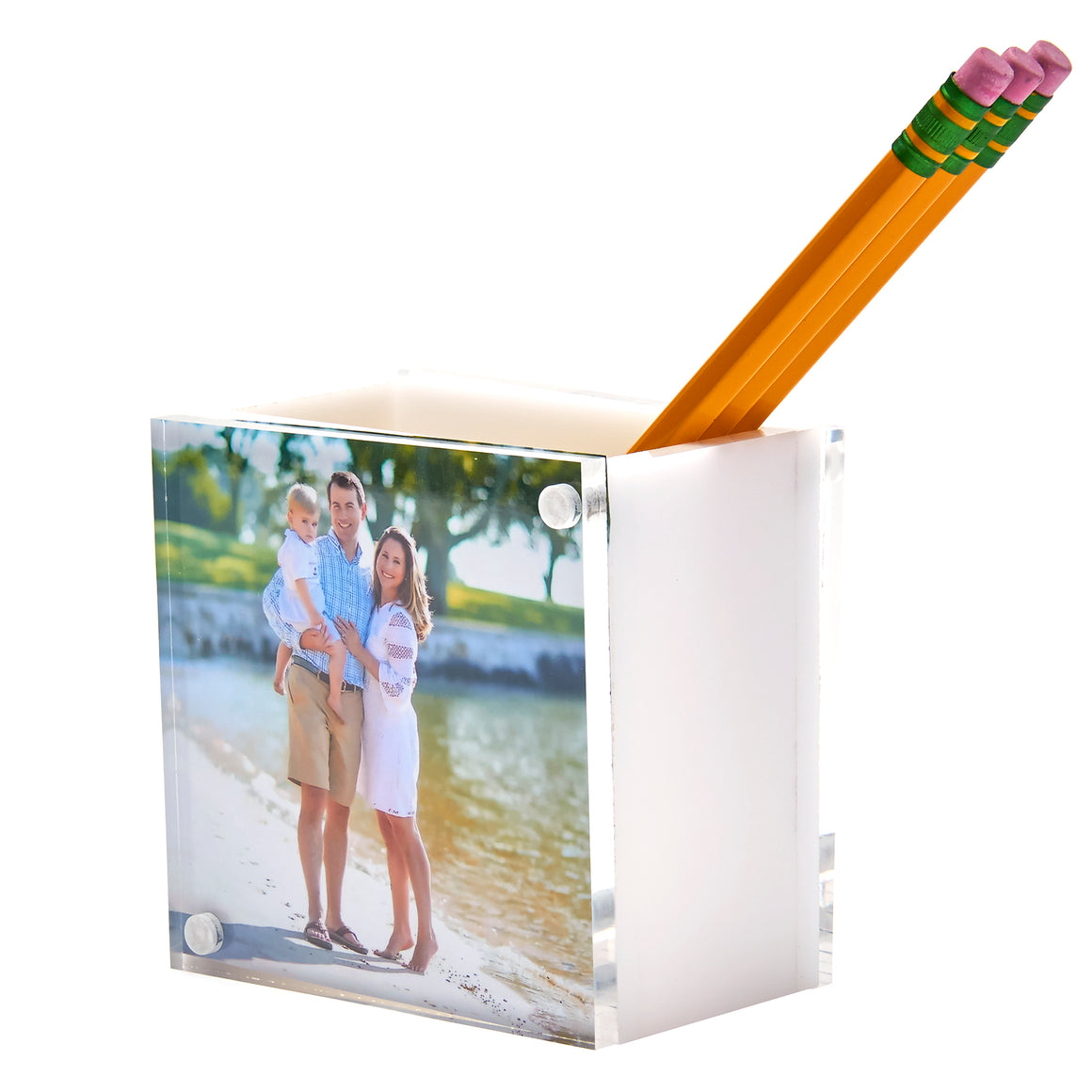 Photo pen holder - white (double-sided)