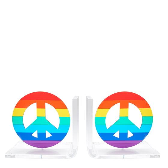 Mirrored Rainbow Peace Sign bookends