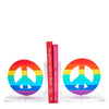 Rainbow mirror peace sign bookends
