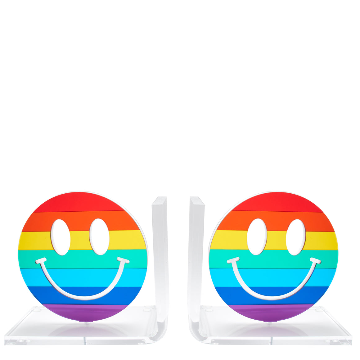 Mirrored Rainbow Smiley Face bookends