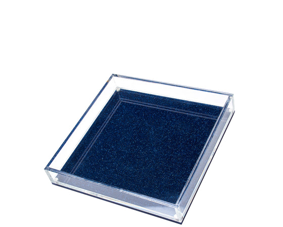 Square Vanity Tray - Blue Glitter