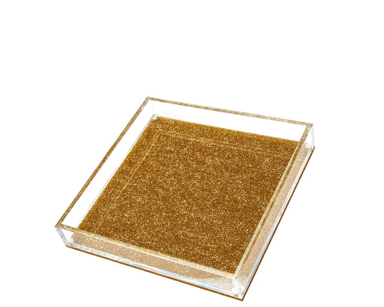 Square Vanity Tray - Gold Glitter