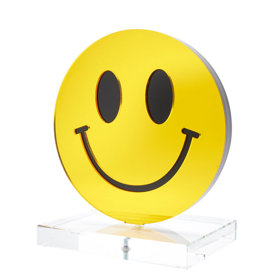 Yellow mirror smiley face stand-alone