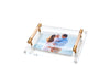 Small Centerpiece Photo Tray with Nude  Leather Handle