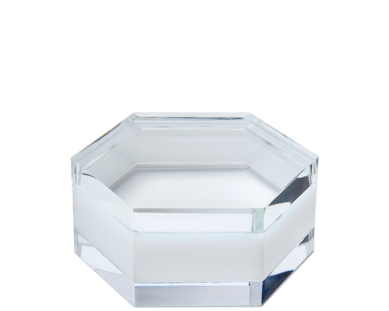 white hexagon box, hexagon box, acrylic box